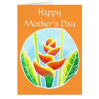 Heliconia Tropical Flower MothersDay Card Template