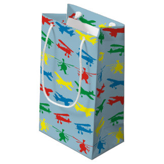 Helicopter Airplanes Aviation Pattern Small Gift Bag