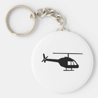 Helicopter Basic Round Button Keychain