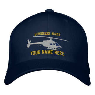 Helicopter Chopper Silhouette Personalize This Embroidered Hat