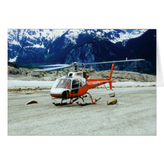 Helicopter Landed on Top of Glacier Mountain Card