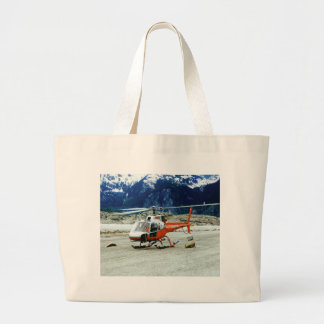 Helicopter Landed on Top of Glacier Mountain Large Tote Bag