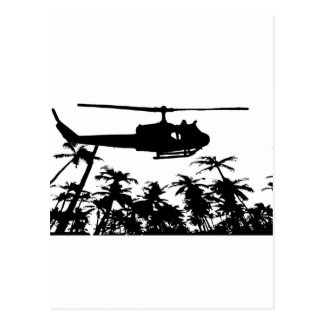 helicopter palm trees postcard