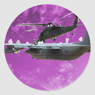 Helicopter Refuels From C-130 Round Sticker
