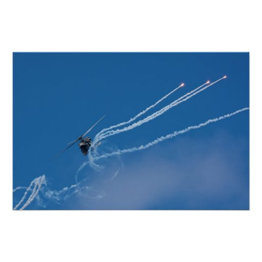 Helicopter Shooting Flares Posters