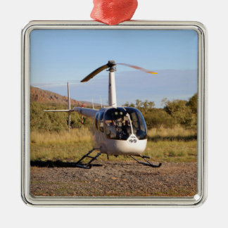 Helicopter (white), Outback Australia 2 Metal Ornament