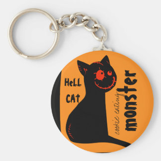 hell black cat Halloween keychain