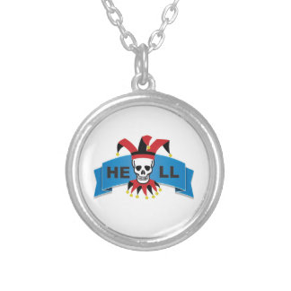 hell logo silver plated necklace