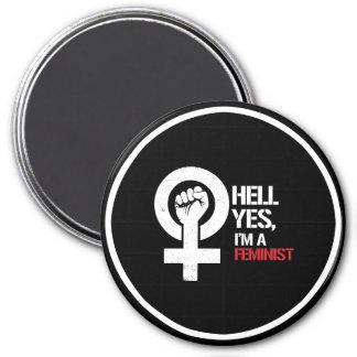 Hell Yes I'm a Feminist ---  white - Magnet