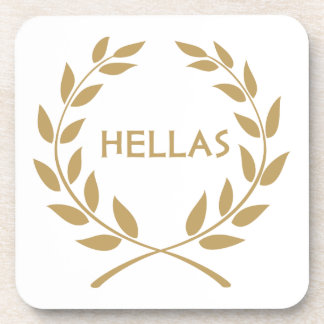 Hellas with Gold olive Wreath Beverage Coasters