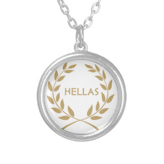 Hellas with Gold olive Wreath Silver Plated Necklace