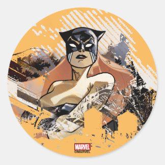 Hellcat City Skyline Graphic Classic Round Sticker