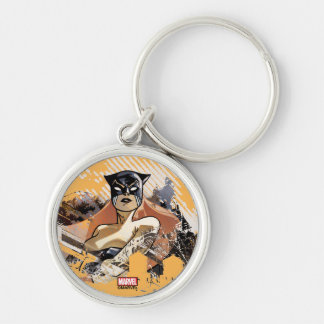 Hellcat City Skyline Graphic Silver-Colored Round Keychain
