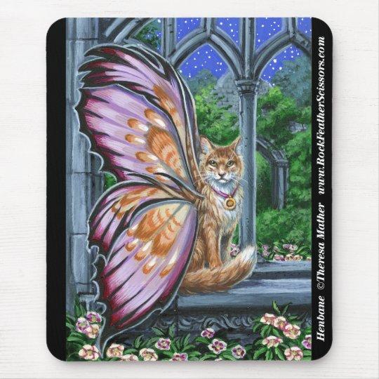 Hellebore Orange Tabby Fairy Cat Mousepad