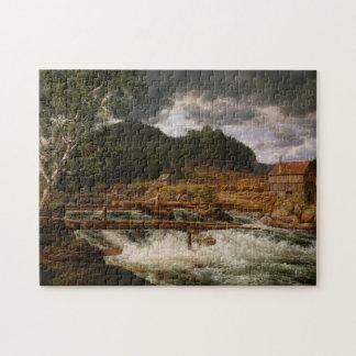 Hellefossen near Hokksund - J.C. Dahl 11x14 Jigsaw Puzzle