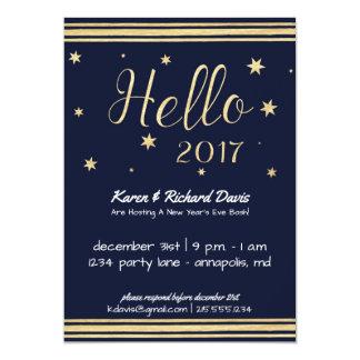 Hello 2017 New Year's Eve Gold & Blue Invitation