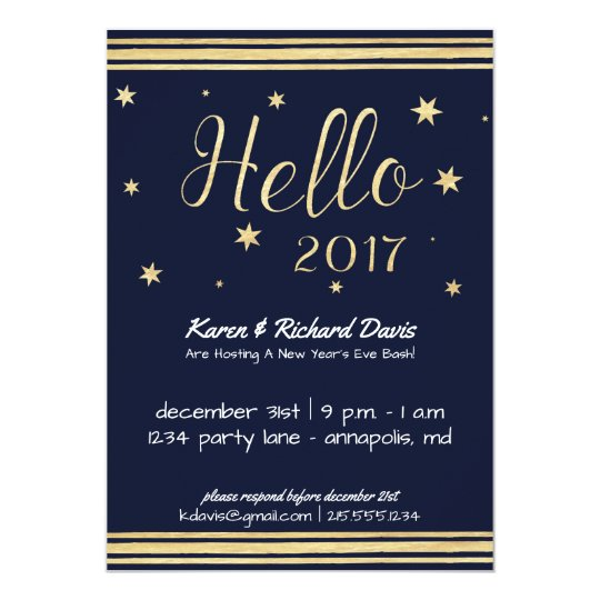 Hello 2017 New Year's Eve Gold & Blue Invitation