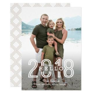 Hello 2018 EDITABLE Back Color New Year Card