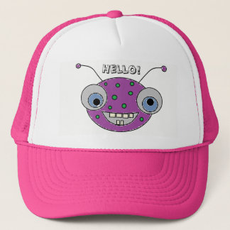 HELLO Adorable Happy Purple Alien Monster Print Trucker Hat