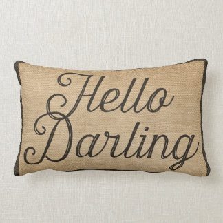 Hello and Goodbye Darling Vintage Burlap Lumbar Pillow