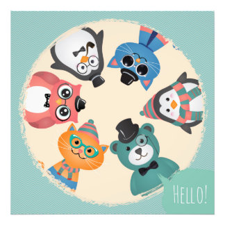 Hello! Animal Friends Circle Photograph