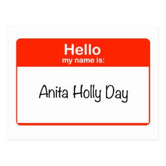 Hello Anita Holly Day Postcard