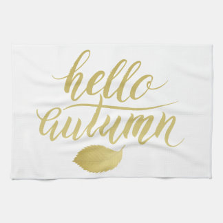 Hello Atumn | Faux Gold Brush Script Kitchen Towel