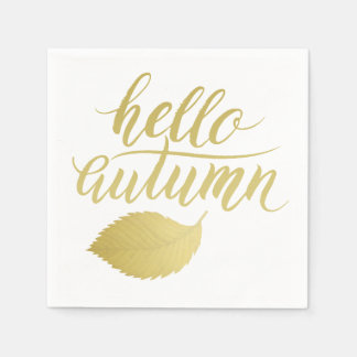 Hello Atumn | Faux Gold Brush Script Napkin