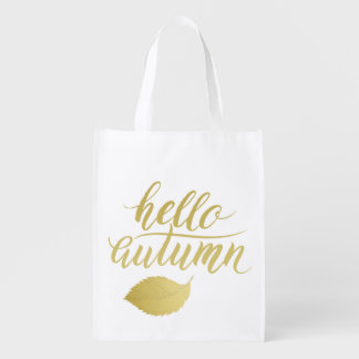 Hello Atumn | Faux Gold Brush Script Reusable Grocery Bag