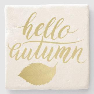 Hello Atumn | Faux Gold Brush Script Stone Coaster
