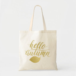 Hello Atumn | Faux Gold Brush Script Tote Bag