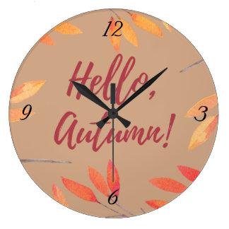 Hello Autumn Large Clock