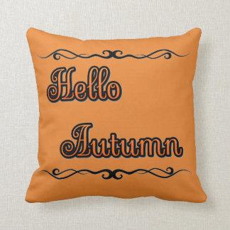 """Hello Autumn Throw Pillow (16"""" x 16"""")"""