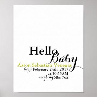 """Hello Baby"" 8x10 Customizable Nursery Print"