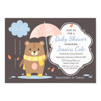 Hello Baby Bear & Umbrella Baby Shower Invitation