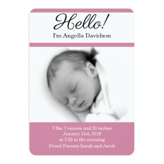 HELLO Baby Girl Birth Announcements