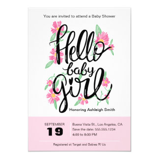 Hello Baby Girl Modern Floral Baby Shower Invite