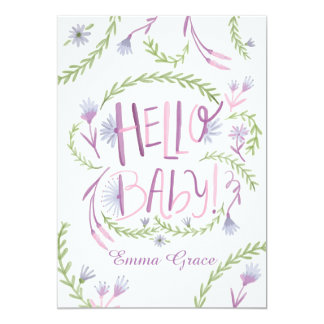 Hello Baby Mauve Meet and Greet Invitation