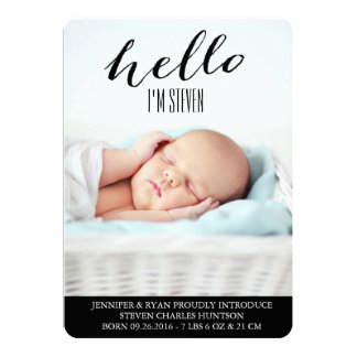 HELLO BABY MODERN BIRTH ANNOUNCEMENT PHOTOCARD