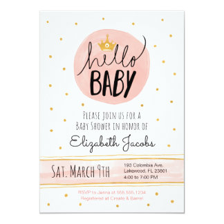 Hello Baby Watercolor Pink & Gold Baby Shower Card