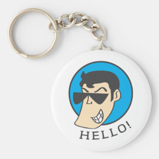 Hello Basic Round Button Keychain