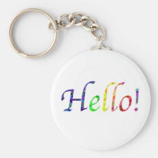 hello! basic round button keychain