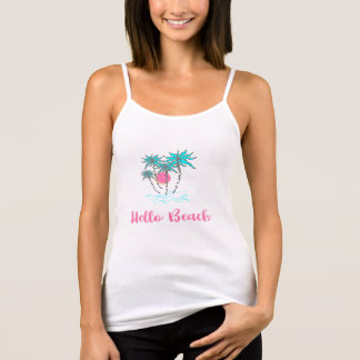 Hello Beach Vacation Style Palm Trees Cool Tank Top