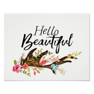 Hello Beautiful Antler and Flowers Poster