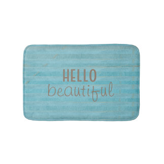 Hello Beautiful Chic And Trendy Striped Design Bath Mat
