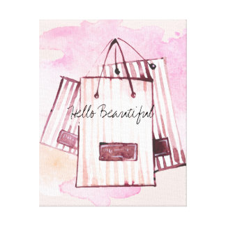 Hello Beautiful Chic Bags Watercolor Canvas Print