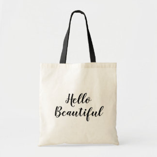 Hello beautiful custom hand lettering tote bag