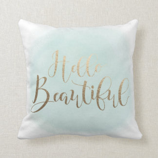 "Hello Beautiful Faux Gold 16"" x 16"" Throw Pillow"