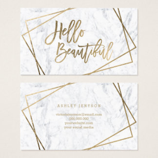 Hello beautiful faux gold script geometric marble business card