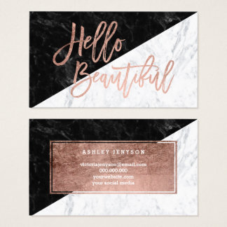 Hello beautiful faux rose gold chic block marble business card